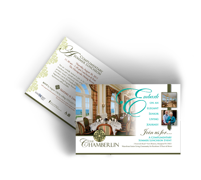 Graphic Design of Direct Mail for The Chamberlin