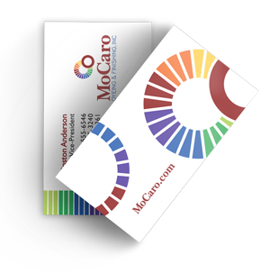 Graphic design of Mocaro business card