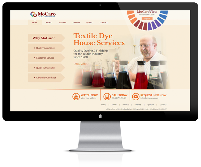 Website Design for MoCaro Dyeing and Finishing