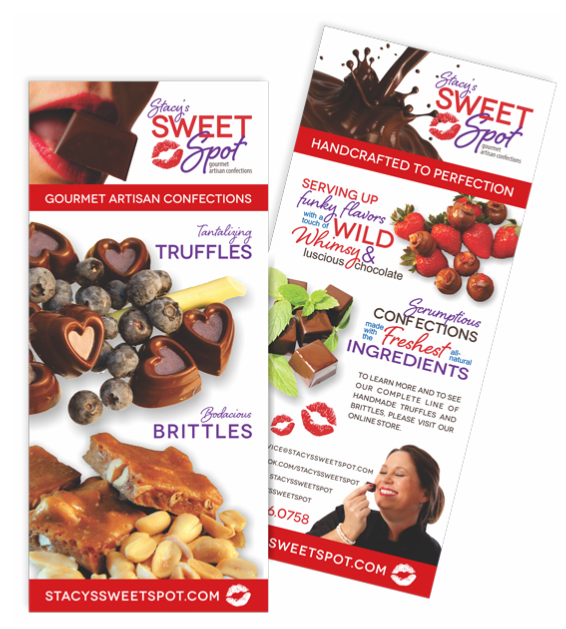 Graphic Design of Rack Cards for Stacy's Sweet Spot