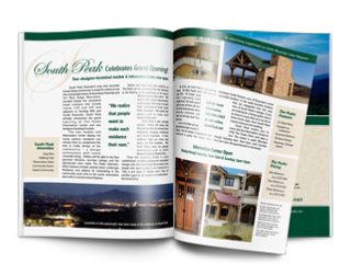 Graphic design of South Peak magazine advertorial